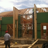 Beginning to frame the entry way.
